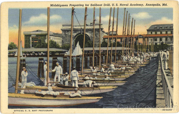 Midshipmen Preparing for Sailboat Drill, U. S. Naval Academy Annapolis Maryland