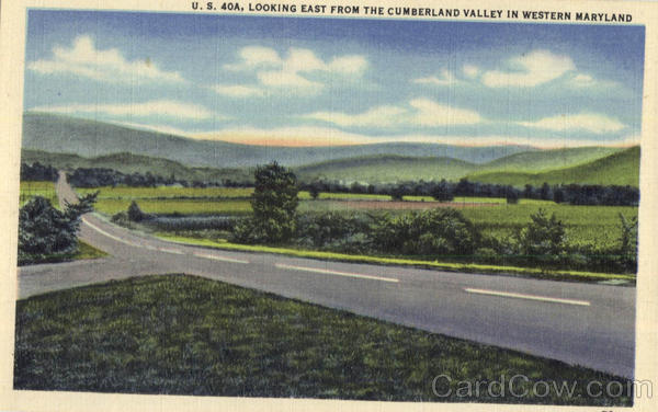 U.S. 40A Looking East From The Cumberland Valley in Western Maryland
