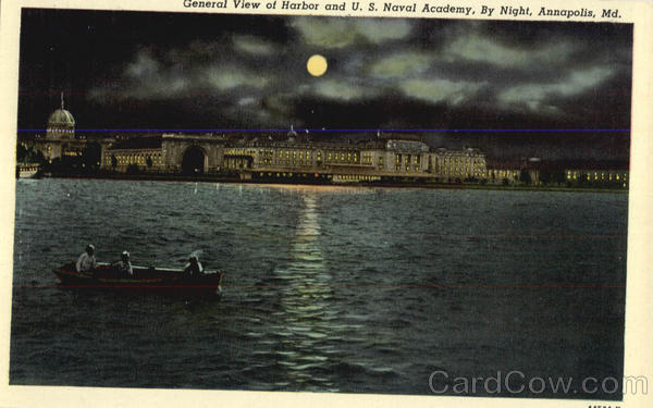 General View of Harbor and U. S. Naval Academy, By Night Annapolis Maryland