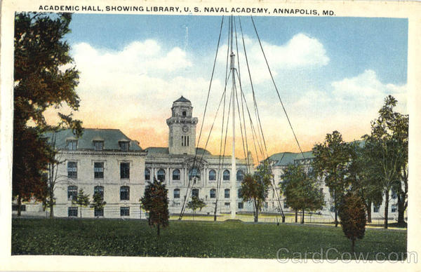 Academic Hill, Showing Library US Naval Academy Annapolis Maryland