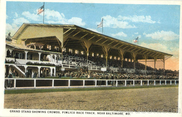 Grand Stand Showing Crowds, Pimlico Rack Track Baltimore Maryland