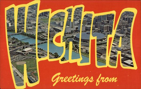 Aerial View of the City Wichita Kansas Large Letter