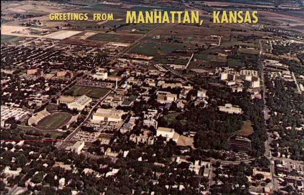 Aerial View of Town Manhattan Kansas