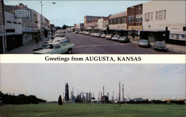 Business Section and Mobil Oil Refinery Augusta Kansas