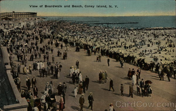 View of Boardwalk and Beach Coney Island New York