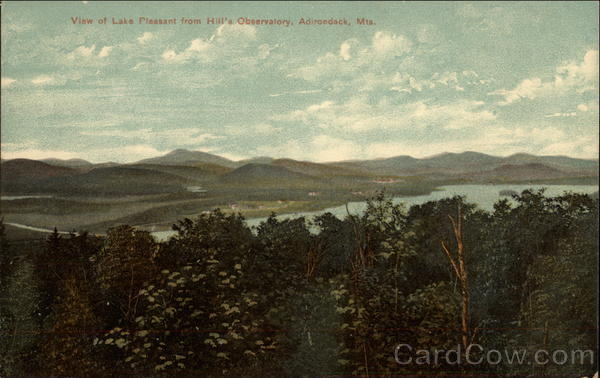 View of Lake Pleasant from Hill's Observatory Adirondack Mountains New York