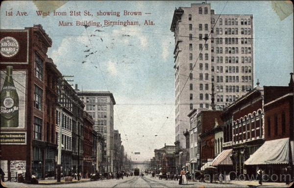 1st Avenue from 21st Street, showing Brown-Marx Building Birmingham Alabama