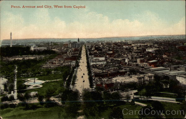 Penn. Avenue and City, West from Capitol Washington District of Columbia