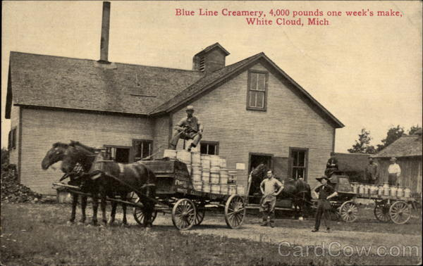 Blue Line Creamery, 4,000 pounds one week's make White Cloud Michigan