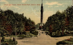 Clock and Tower, Water Works Park Postcard