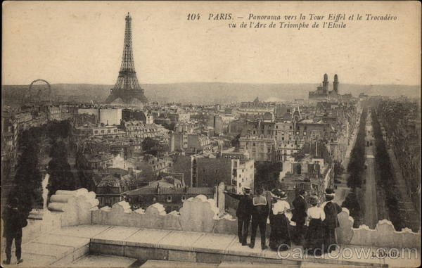 Panoramic View of the Eiffel Tower and The Trocadero Paris France