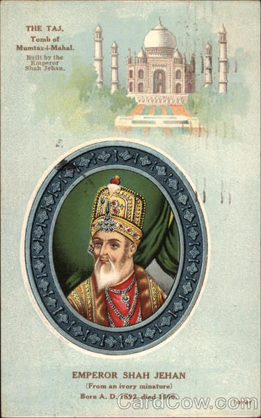 Portrait of Emperor Shah Jehan, with view of the Taj Mahal India