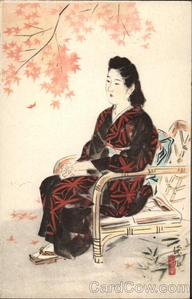 Japenese Woman seated in Bamboo Chair Japan Women