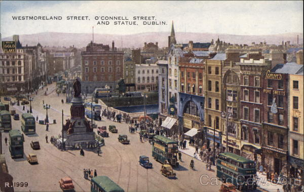 Westmoreland Street, O'Connell Street and Statue Dublin Ireland