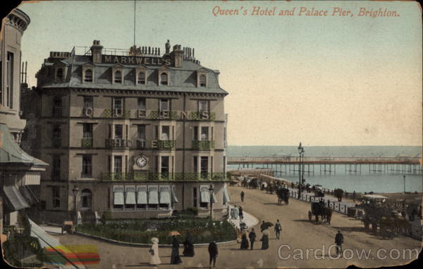 Queen's Hotel and Palace Pier Brighton England Sussex