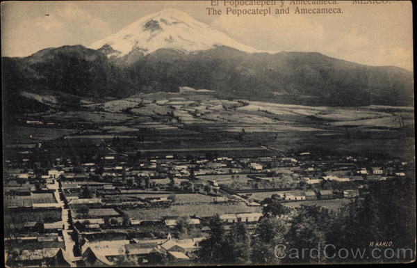 View of Town with Popocatepetl Amecameca Mexico