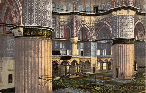 Interior of the Mosque of Sultan Ahmed Istanbul Turkey