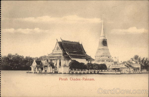 Temple and RIver Phrah Chadee-Paknam Thailand Southeast Asia