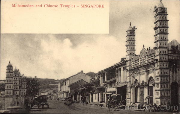 Mohamedan and Chinese Temples Singapore Southeast Asia