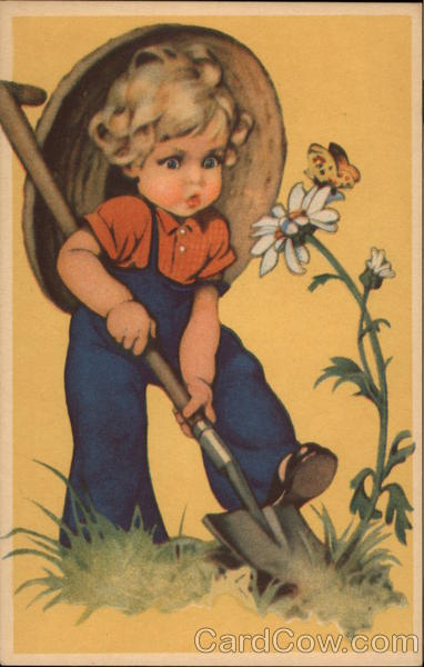 Young Girl Digging Up a Daisy Girls