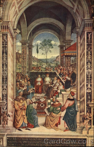 Pinturicchio Painting in the Duomo Library in Siena Italy