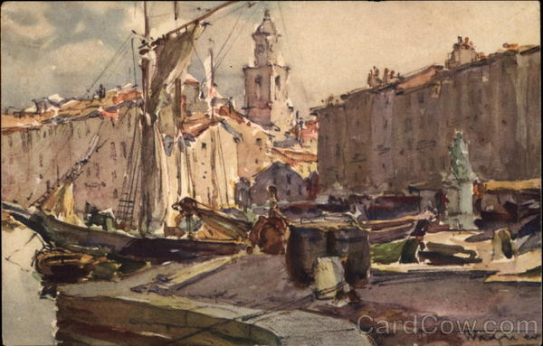 Painting of the Port of St. Tropez France