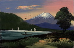 Hand Painted View of Mount Fuji