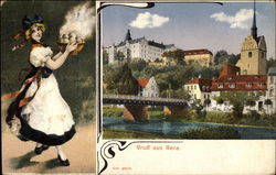 View of Town and River, and Girl Carrying Bowl of Dumplings