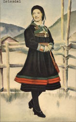 Setesdal, with Woman in Norwegian National Costume
