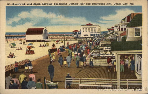Boardwalk and Beach Showing Bandstand Ocean City Maryland