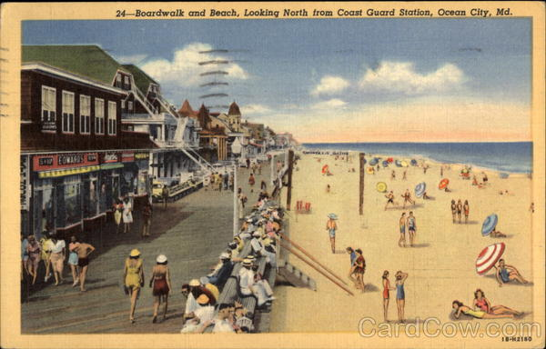 Boardwalk and beach, looking north from Coast Guard Station Ocean City Maryland