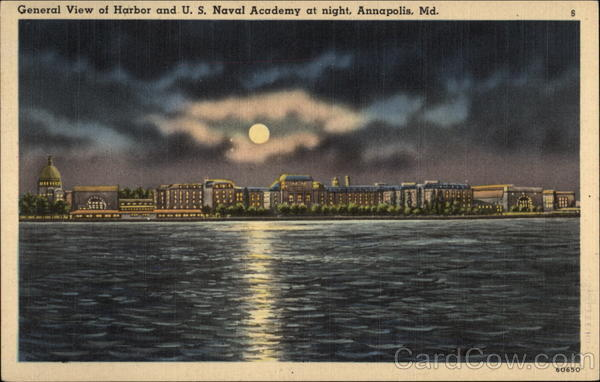 General View of Harbor and U. S. Naval Academy at Night Annapolis Maryland