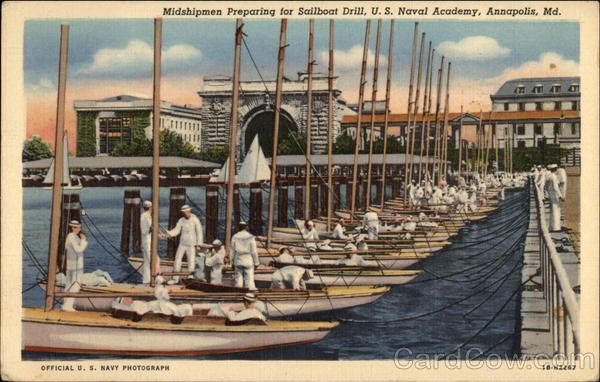 Midshipmen Preparing for Sailboat Drill, U.S. Naval Academy Annapolis Maryland