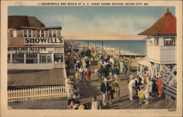 Boardwalk and Beach at U.S. Coast Guard Station Ocean City Maryland