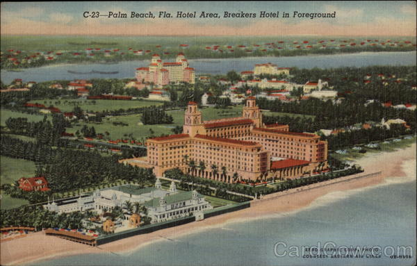 Hotel Area, Breakers Hotel in Foreground Palm Beach Florida