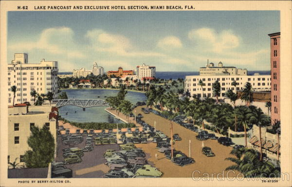Lake Pancoast and Exclusive Hotel Section Miami Beach Florida