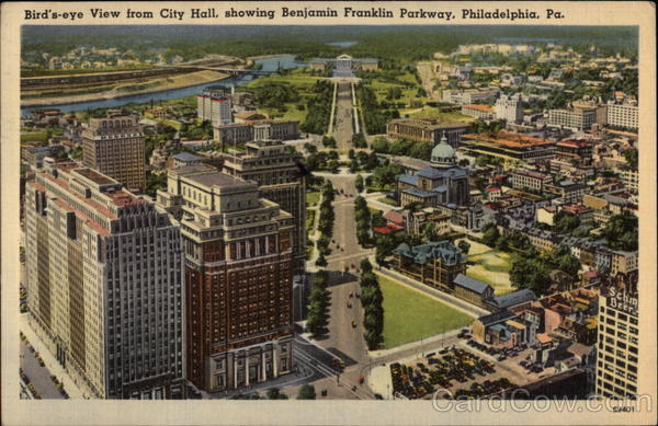 Bird's-eye View from City Hall, showing Benjamin Franklin Parkway Philadelphia Pennsylvania