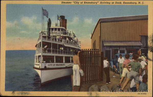City of Keansburg Steamer Arriving at Dock New Jersey