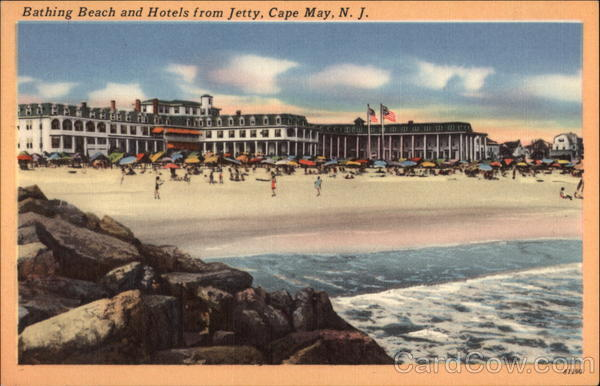 Bathing Beach and Hotels From Jetty Cape May New Jersey