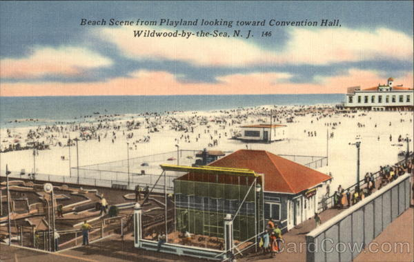 Beach Scene from Plaland looking toward Convention Hall Wildwood-by-the-sea New Jersey