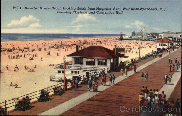 Boardwalk and Beach looking South from Magnolia Avenue Wildwood-by-the-Sea New Jersey