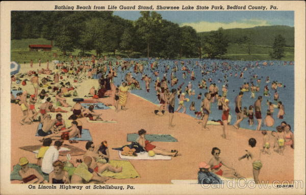 Bathing Beach from Life Guard Station, Shawnee Lake State Park Bedford County Pennsylvania