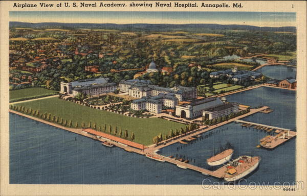 Airplane View of U.S. Naval Academy, showing Naval Hospital Annapolis Maryland