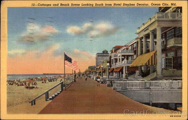 Cottages and Beach Scene Ocean City Maryland