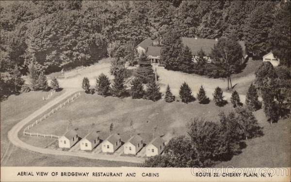 Aerial view of Bridgeway Restaurant and Cabins, Route 22 Cherry Plain New York