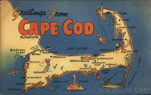 Greetings from Cape Cod Massachusetts Maps