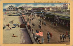 Scene on the Boardwalk and Beach