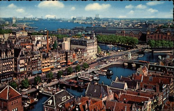 Damrak with view at the Y Amsterdam Netherlands Benelux Countries