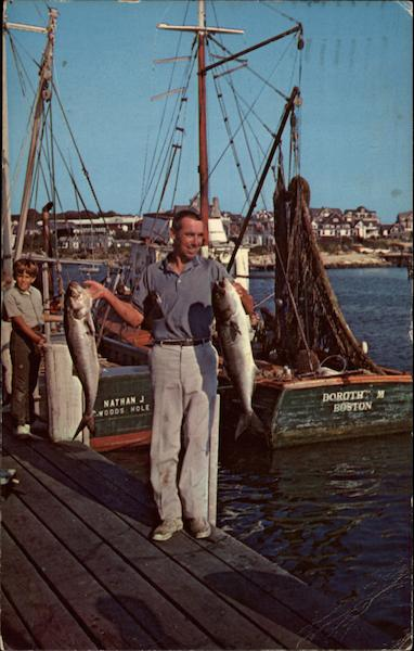 Proud Fisherman with Prize Catch of Bluefish Cape Cod Massachusetts