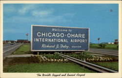O'Hare International Airport - Entrance Sign Postcard